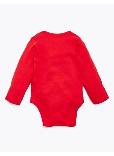 Marks & Spencer Saf Pamuklu Yılbaşı Desenli Body Kırmızı